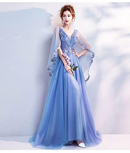 HUITAILANG Abendkleid,Blaue Bling Stickerei Schleppen Mit Wickeln Abendkleider V-Ausschnitt Ärmellose Schleppe Illusion Party Formales...