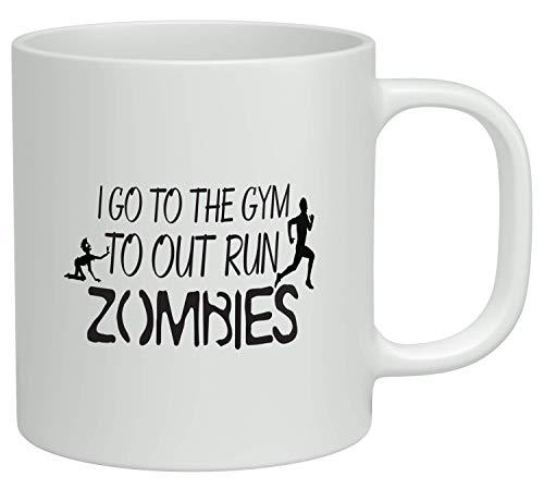 WTOMUG I Go To The Gym To Outrun Zombies - Ceramic Coffee Mug Cup, 11 Oz, White