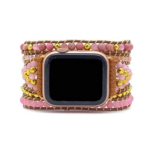 ZAOPP Naturstein Boho Rosenquarz Watch Strap Leder Armband 5 Wrap Watch Band für Geschenke Schmuck Zubehör