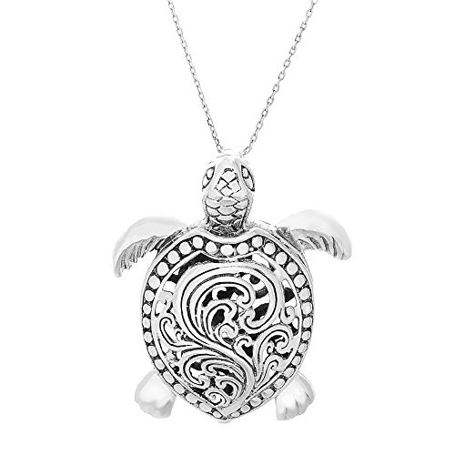 "Willowbird Oxidized Sterling Silver Engraved Filigree Turtle Necklace on 18"" Chain for Women ( Turtle )"