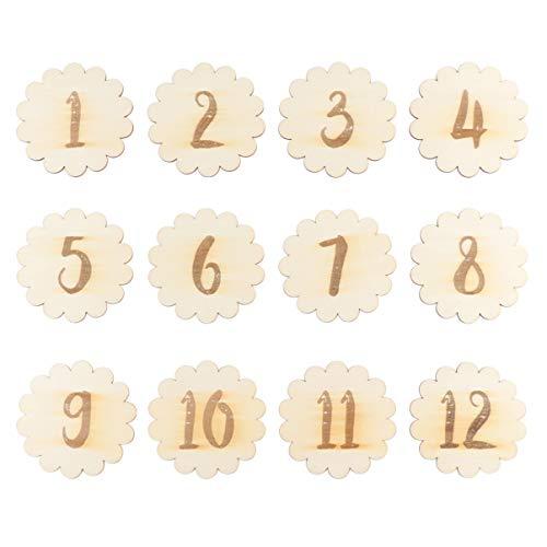 Toddmomy 12 Unidades de Tarjetas de Madera Mensual Recién Nacido Conjunto de Regalos de Bebé Primer Año de Crecimiento Fotografía (Números de Encaje)