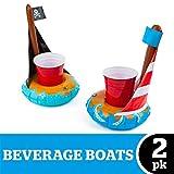 Flotadores posavasos hinchables para piscina 02 piezas - Barquitos