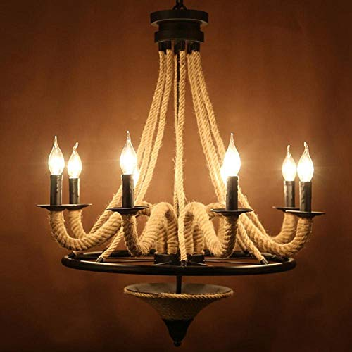 Vintage Industrial Chandelier, Cafe Restaurant Living Room Chandelier Black Metal Kroonluchter Elegant Classic Hennepzaadolie Candle Light Style Kroonluchter plafond licht E14