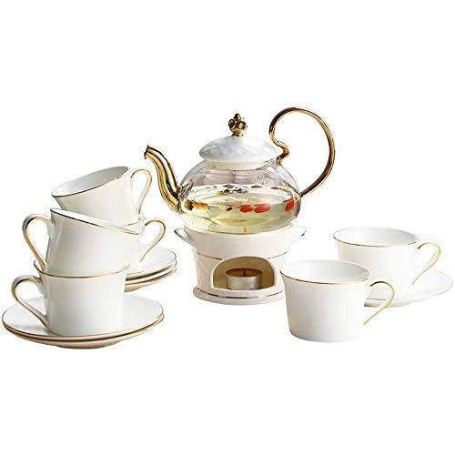 XINGYU Tee-Set mit 6 Stück Teetasse und Untertasse, schlicht, luxuriös, europäischer Stil, Gold-Finish, Teeset aus Keramik, für Haus und Büro, Kaffeeteparty, für die Familie, weiß, Set of 13
