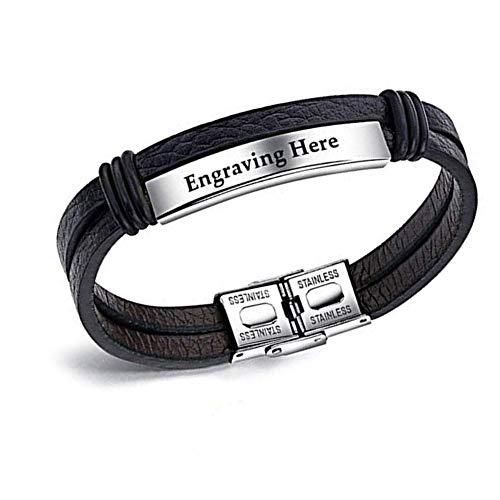 XiXi Personalisierte Armband ID Armband Edelstahl Lederarmband mit Gravur Armreif Manschette für Herren Damen PU Leder Armbänder für Valentinstag Geburtstag (Silber)