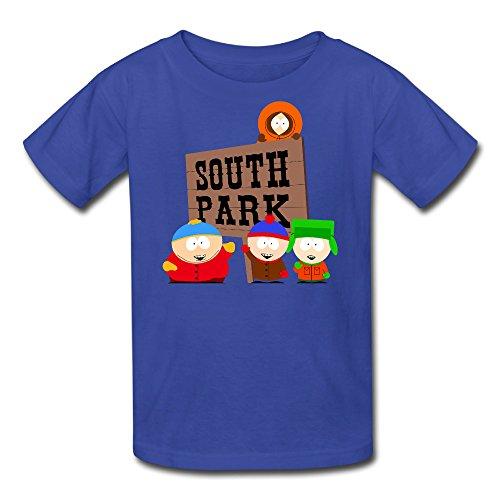 Camiseta para niños 100% algodón estilo bandera de South Park - azul - Medium
