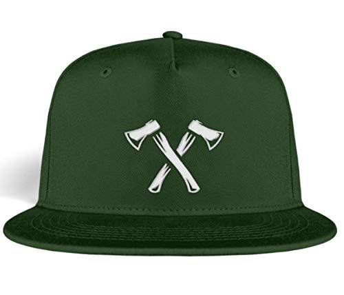 HOLZBRÜDER® Snapback Kappe Axt Kappe für den Wald zum Holzmachen - Cappy Mütze Kopfbedeckung für die Arbeit - Kettensäge - (Grün)