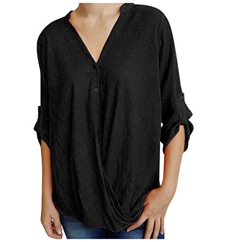 Xniral Damen Shirt Lose V-Ausschnitt 3/4 Ärmel Buttom Down Einfarbig Sommer T-Shirt Bluse Vintage Tunika Hemd T-Shirt Elegant Baumwolle Oberteil(Schwarz,M)