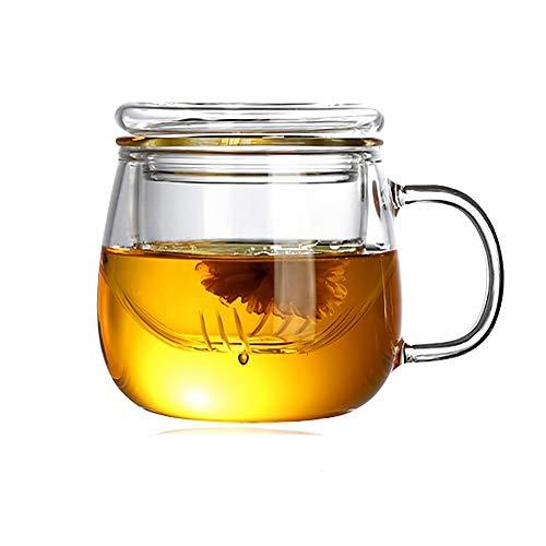 Tazas de Te Taza Cristal Con Infusor, aza de te flores sin plomo de alto silicio con filtro adecuado para té, café, leche, (350 ml)