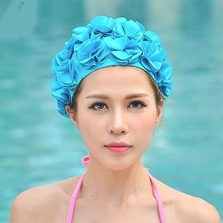 5bfaf087508 Ladies Petal Flower Vintage Style Swimming Hat Cap Sports Siwm Pool Swimming  equipment blue