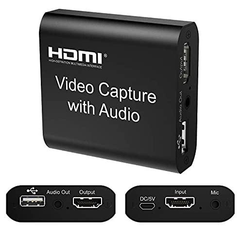 DIGITNOW!Carte de Capture Vidéo HDMI avec Microphone,USB 2.0 Audio Grabber 4K HD 1080P 60FPS Enregistreur vidéo pour la Diffusion en direct pour PS, Xbox,DSLR,Action Cam