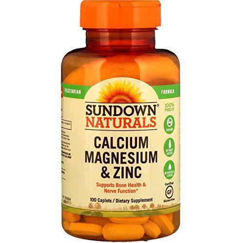 Sundown Naturals Calcium, Magnesium and Zinc High Potency, 100 Caplets-3 PKS