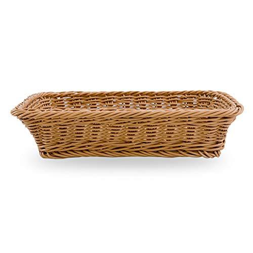 GeKLok - Cestino in rattan sintetico, vassoio in vimini naturale, cesto per il pane in vimini naturale, grande esposizione, cestino rettangolare da tavolo, cestino multiuso per frutta, verdura e pane