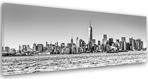 Feeby Frames, Cuadro en Lienzo, Cuadro impresión, Cuadro decoración, Canvas de una Pieza, 30x90 cm, Edificios, Rascacielos, Arquitectura, Agua, Ciudad, Nueva York, Blanco Y Negro