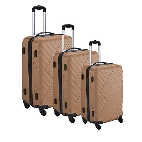 Suitcase Hard Shell Trolley 4 Wheel Set of 3 Lightweight Luggage Travel Cases (Champagne)