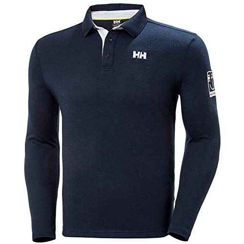 Helly Hansen Herren Skagen Quickdry Rugger Langärmeliges Polo, Navy, L