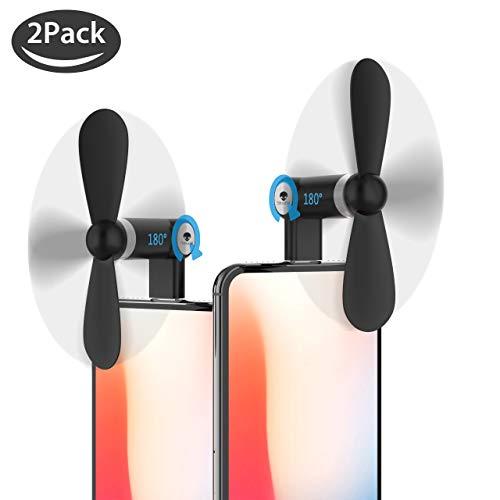 Stouchi Fan for iPhone, Handheld Fan Mini Fan Portable Dock Cool Cooler 180 °Rotating Fan Compatible for iPhone X/iPhone 8/7 / 6 Plus iPad Mini Black