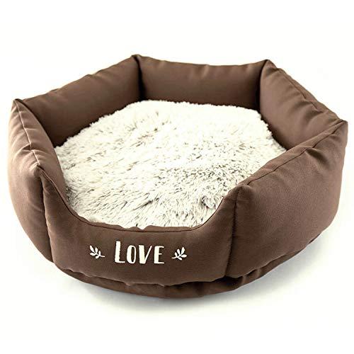 Corbeille Panier Chien octogonale Douce et Confortable Coussin Amovible Chaud à Poils et Inscription Love (Chocolat 40cm)