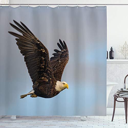 ABAKUHAUS Adler Duschvorhang, Jäger Vogel im offenen Himmel, mit 12 Ringe Set Wasserdicht Stielvoll Modern Farbfest & Schimmel Resistent, 175x200 cm, Dunkel Gelb Hellblau