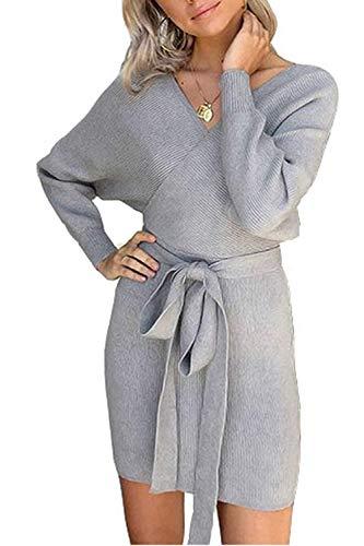 Pulloverkleid Damen Kleider Elegant Strickkleid V-Ausschnitt Langarm Tunika Kleid Minikleid Mit Gürtel (Grau, M)