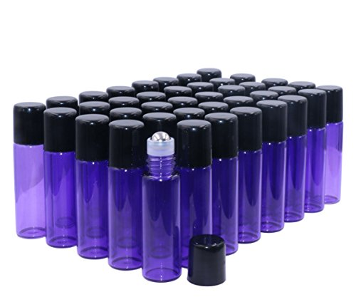 Glass Roller Bottles,5ml(1/6oz) Purple 40 Pack Roll on Glass Bottles for Essential Oils Aromatherapy,Perfume Oils,Lip Balms,DIY Blends creations,with Stainless Steel Roller Ball Black Lid-FREE Dropper