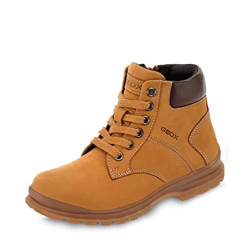 Geox J845HB Navado Modischer Jungen Leder Stiefel, Schnürstiefel, leichtes Fleece Futter, atmungsaktiv Gelb (Yellow/DK Brown), EU 33