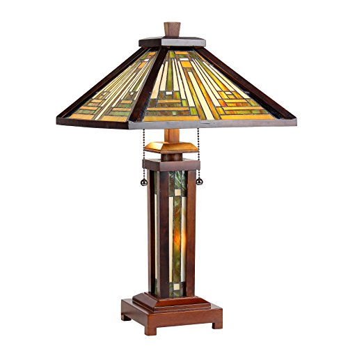 """Chloe Lighting CH33359WM15-DT3 15"""" Shade Tiffany-Style 3 Mission Double Lit Wooden Table Lamp"""