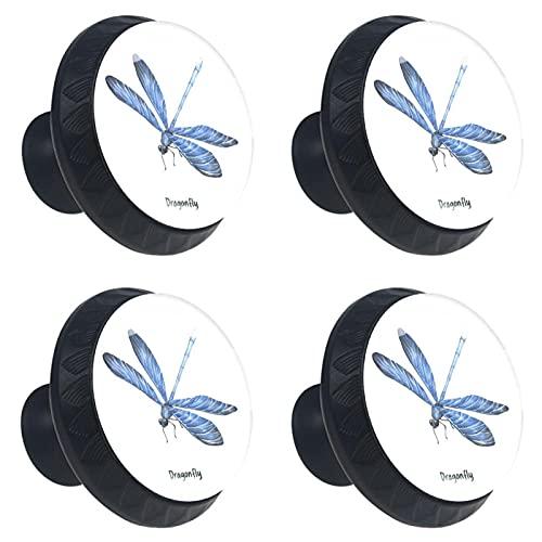 Cristal de libélula azul para cajones de aparador 4 piezas
