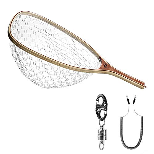 SF Fly Fishing Landing Soft Rubber Mesh Trout Catch and Release Net with Silver Magnetic Net Release Combo Kit