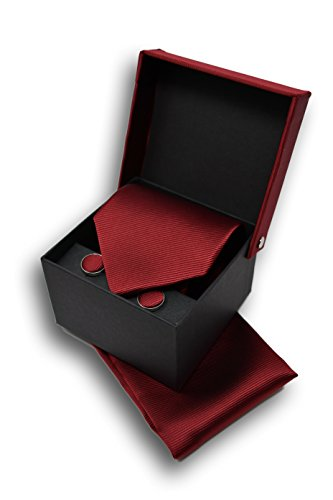 Coffret Ensemble Cravate Homme, Mouchoir de Poche, Boutons de Manchette Rouge Bordeaux - 100% en Soie - Classique, Elégant et Moderne - (Idéal pour un