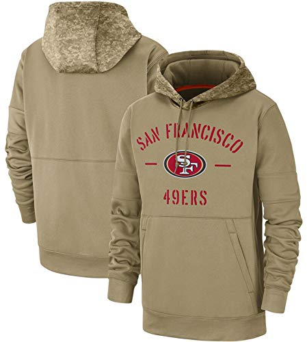 XYEQX Herren Hoodies-49ers Hoodie, Rugby Hooded Sweater Pullover Sportswear Langarm Sweatshirt American Football Jacken Uniform-Lightkhaki-2XL(190-195)