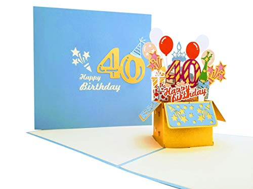 iGifts And Cards Happy 40th Blue Birthday Party Box 3D Pop Up Greeting Card – Forty, Awesome, Balloons, Unique, Celebration, Feliz Cumpleaños, Fun