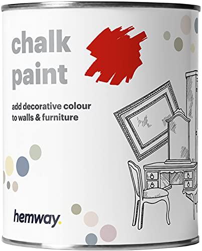 Hemway, pittura a gesso, vernice opaca, pittura per pareti e mobili, 1l, shabby chic, vintage, gessosa, disponibile in 14 colori, rosso