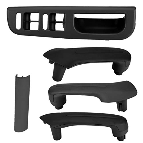 aqxreight - Manija de agarre de puerta interior, interruptores de ventana principal Panel de control embellecedor bisel + manija de agarre de puerta interior para MK4(negro)
