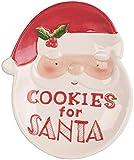 infactory Dekoteller: Keks-Teller mit Weihnachtsmann-Motiv & Aufschrift Cookies for Santa (Weihnachtsteller)