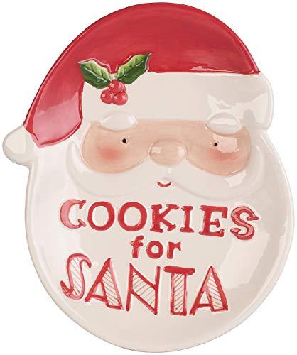 infactory Weihnachtsteller: Keks-Teller mit Weihnachtsmann-Motiv & Aufschrift Cookies for Santa (Dekoteller)