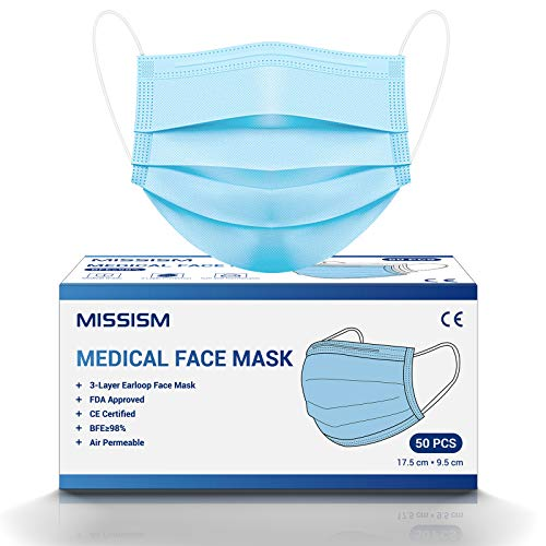 Medical Grade Face Mask, Disposable 3 Layer Breathable Mask, Elastic EarLoop and Metal Nose Wire Clip for Adult Women Teens, 50 PCS