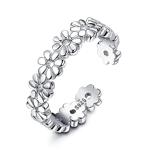 Milacolato 925 Sterling Silver Toe Rings for Women White Gold Plated Hypoallergenic Heart Moon Star Celtic Knot Daisy Flower Vintage Adjustable Open Toe Rings