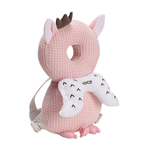 Bebamour Baby Head Schutzpolster Atmungsaktive Köpfe Stützkissen für Kleinkinder Verstellbare Kopfstützen-Rückenschutzkissen(Rosa Schwein)