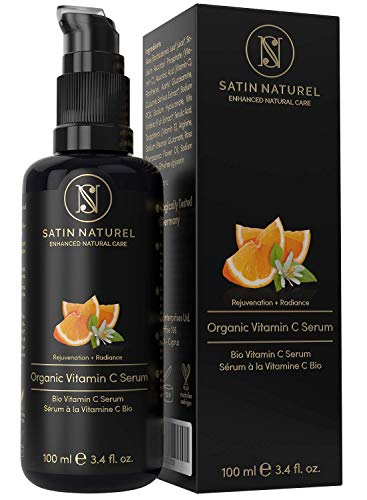 Serum de Vitamina C orgánico con Acido Hialuronico - 100ml - Doble Complejo 30% Vitamina C, E, Aloe Vera - Vegano de Alta Calidad - Serum Facial Hecho en Alemania - Satin Naturel