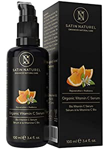 Serum de Vitamina C orgánico con Acido Hialuronico - 100ml - Doble Complejo 30% Vitamina C, E, Aloe Vera - Serum Facial Hecho en Alemania - Satin Naturel