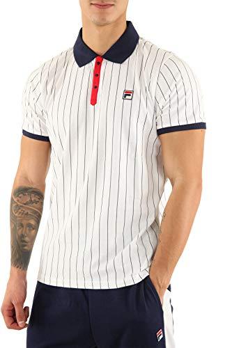 Fila Vintage BB1 Classic Stripe Polo Shirt | White/Peacoat/Red XLarge