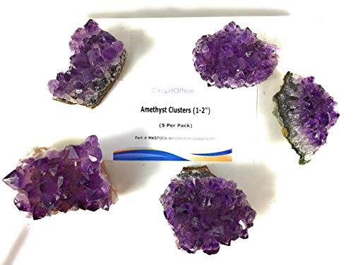"CircuitOffice Natural Purple Amethyst Crystal Cluster Geode from Uruguay, Gemstone Specimen, Healing, Reiki, Chakra, Meditation, Wicca (5 Pieces Raw, 1-2"")"
