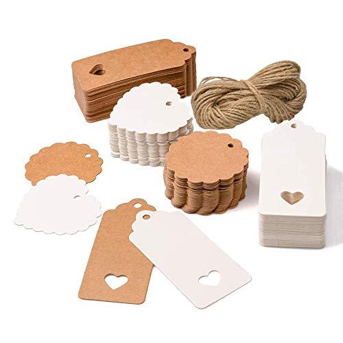 200 piezas Etiquetas de Papel Kraft,etiquetas regalo,cuerda de cáñamo de 30m, utilizadas...