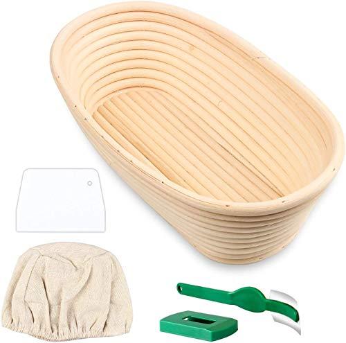 DHIMOG Canasta de Pan de Banneton Ovalada de 10', cestas de Masa de bambú de ratán Hechas a Mano con línea Raspador de Masa de Pan cocido de Tela para Hornear Pan de Banneton