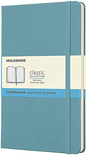 Moleskine Classic Hard Cover Notebook, Dotted, Large (5' x 8.25') Reef Blue - Hard Cover Notebook for Writing, Sketching, Journals