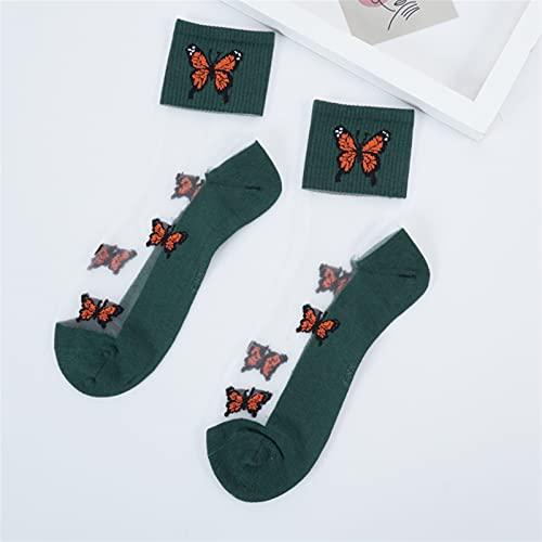 Calcetines Mujer Streetwear Stripe Moda Tobillo Divertido Algodón Bordado (Color : Butterfly Socks 5, Size : EUR 35 40)