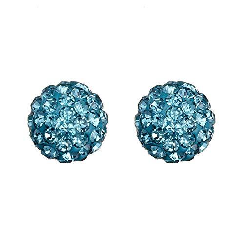 Pendientes de acero inoxidable auténtico, bola con brillantes, aguamarina azul