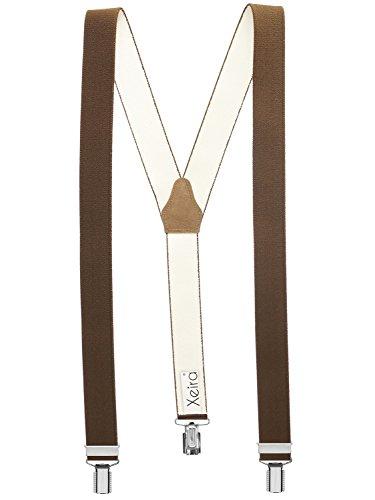 Xeira Hochwertige Hosenträger in Trendigen Uni Farben, Braun, Standard 110cm