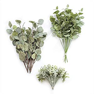 Silk Flower Arrangements Ling's moment Artificial Eucalyptus Greenery Spray Box Set for Wedding Bouquet and Table Centerpieces Decoration